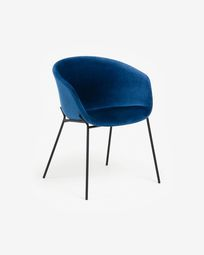 Yvette blue velvet chair