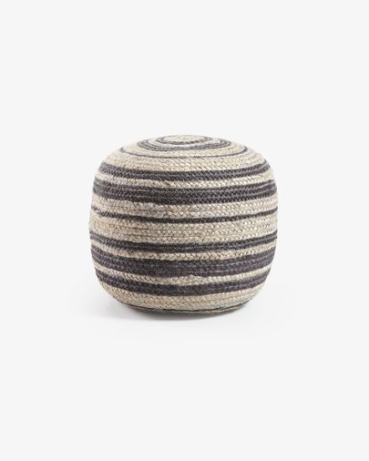 Light grey and black Saht pouf Ø 45 cm