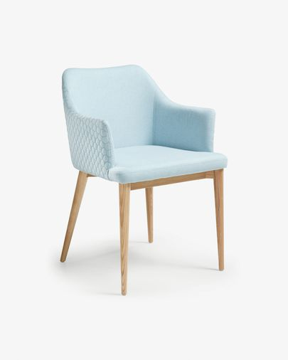 Croft armchair blue natural finish