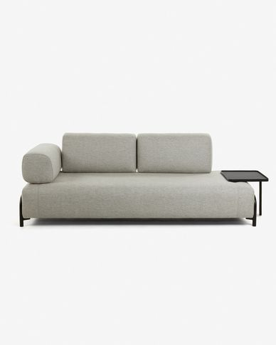 Beige 3 seaters Compo sofa with large tray 252 cm