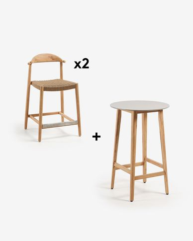 Georgette Table Pack with Two 62 cm Nina Stools