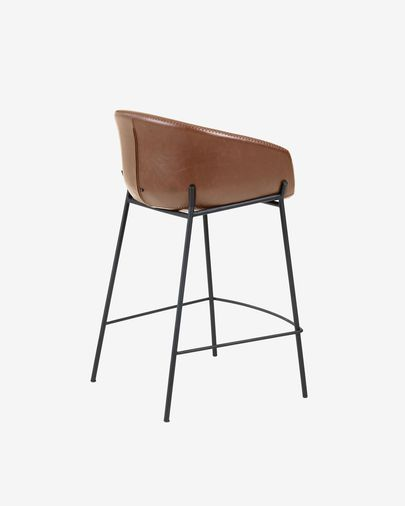 Brown faux leather Yvette barstool height 65 cm