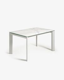 Extendable table Axis 160 (220) cm porcelain Kalos white finish gray legs