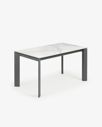 Extendable table Axis 140 (200) cm porcelain Kalos White finish anthracite legs
