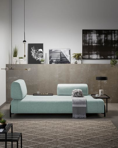 Turquoise 3 seaters Compo sofa wiht small tray 232 cm