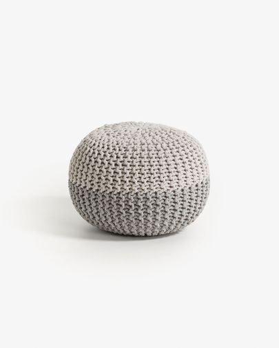 White and grey Arnot pouf Ø 50 cm
