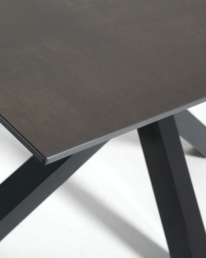 Argo table 200 cm porcelain Iron Moss finish black legs