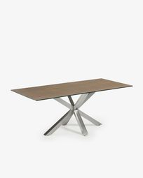 Argo table 200 cm porcelain Iron Corten finish matt stainless steel legs