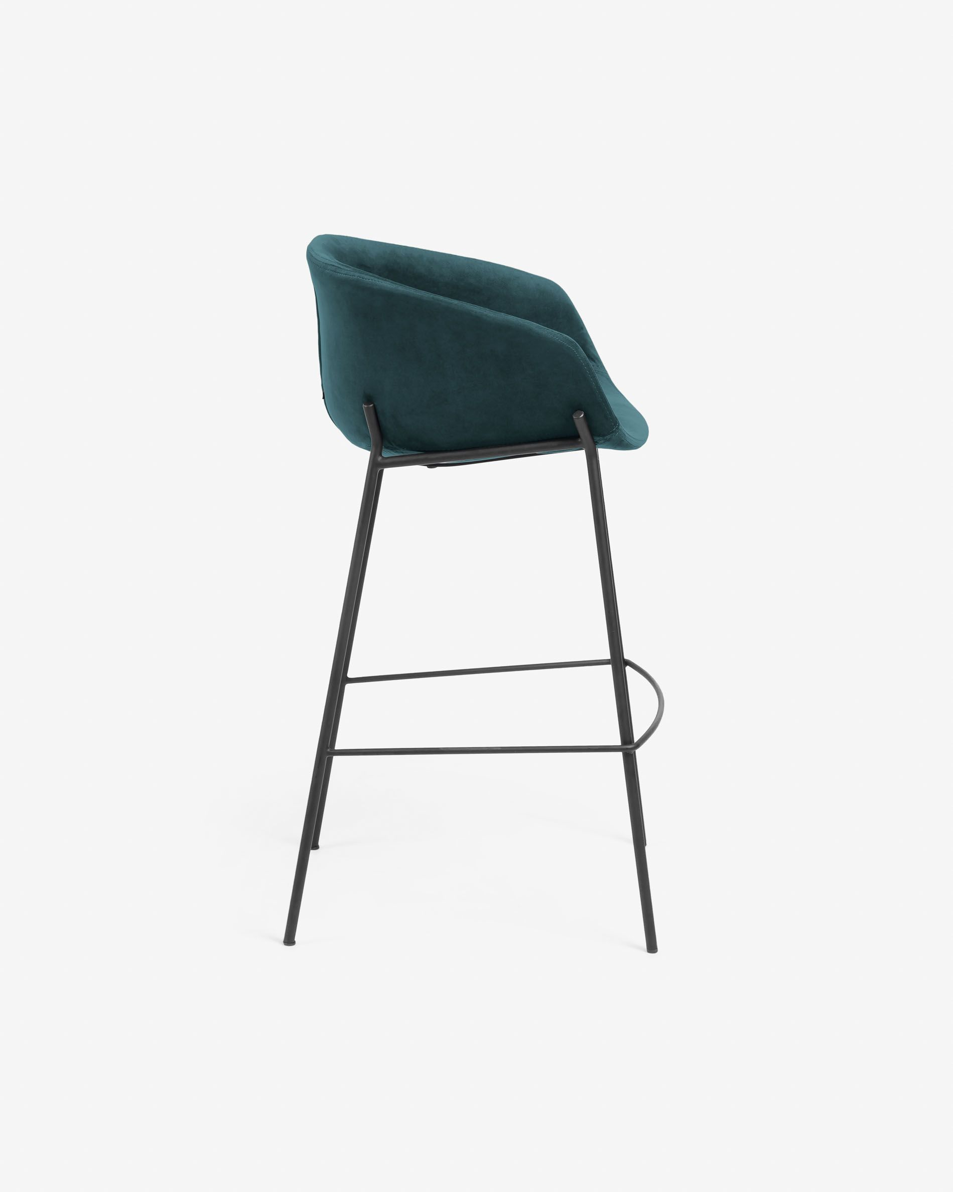 Awesome Turquoise Velvet Yvette Barstool Height 74 Cm Kave Home Caraccident5 Cool Chair Designs And Ideas Caraccident5Info