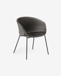 Yvette grey velvet chair