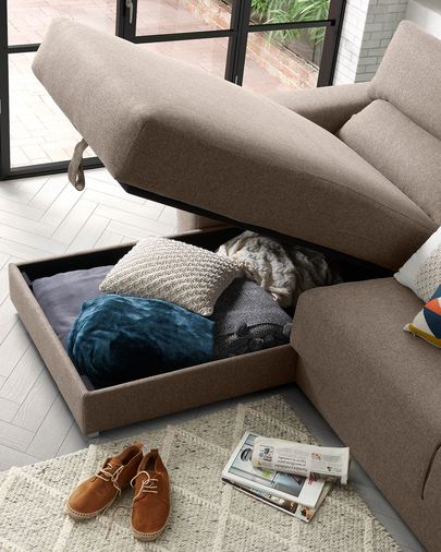 Brown 3-seater Atlanta sofa with chaise longue 290 cm