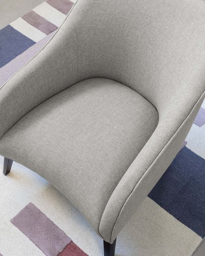 Light grey Bobly armchair wenge finish legs
