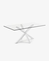 Argo table 200 cm glass white legs