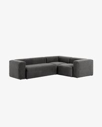 Grey Blok 3 seater corner sofa 290 x 230 cm