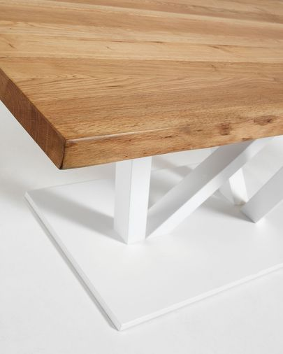 Table Nyc 220x100, epoxy blanc plateau chêne