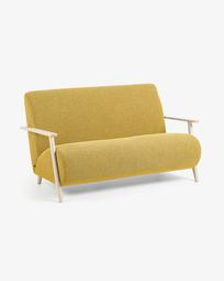 Meghan sofa  2 seaters mustard natural finish 145 cm
