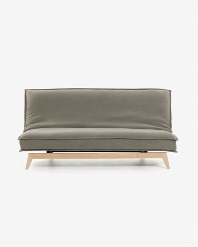 Eveline sofa bed 195 cm beige wood structure