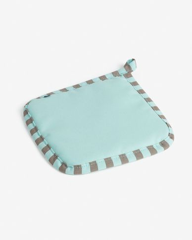 Potholder Shire turquoise and brown stripes
