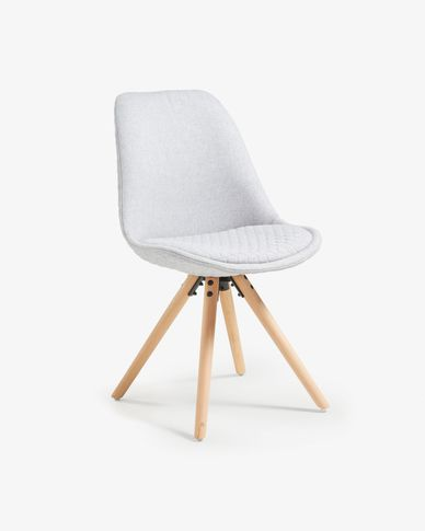 Ralf chair fabric light grey and natural