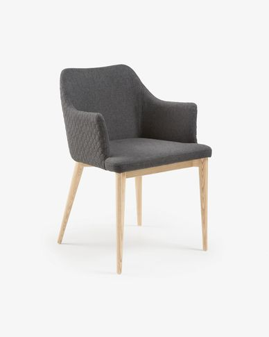 Croft armchair dark grey natural finish