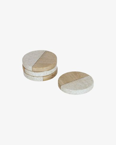 Augustine terrazzo and wood set of 4 coasters