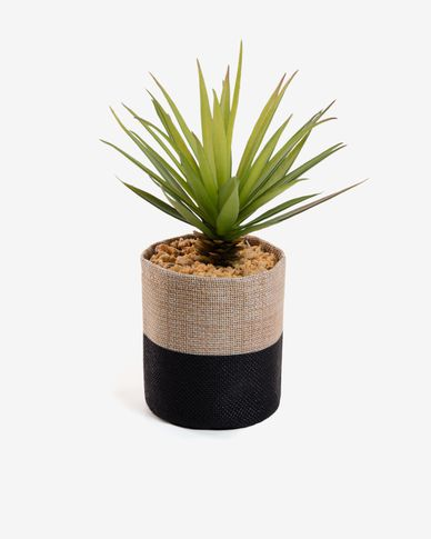 Artificial small palm in raffia pot