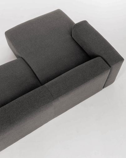 Grey Blok 2-seater sofa with left chaise longue 240 cm