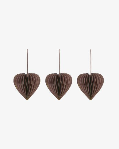 Uriel set of 3 brown Christmas baubles