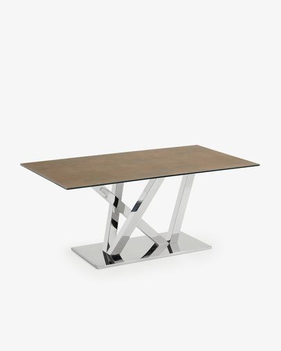 Nyc table 180 cm porcelain Iron Corten finish stainless steel legs