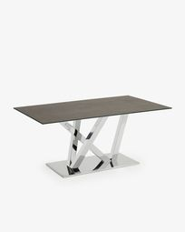 Nyc table 180 cm porcelain Iron Moss finish stainless steel legs
