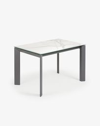 Extendable table Axis 120 (180) cm porcelain Kalos White finish anthracite legs