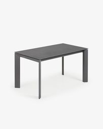 Table extensible Axis 140 (200) cm grès cérame finition Vulcano Roca pieds anthracite