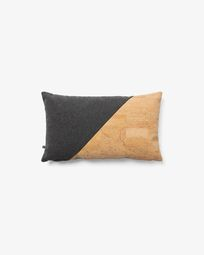 Myla cushion cover 30 x 50 cm cork and dark grey