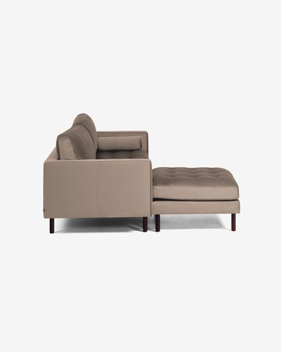 Debra grey velvet 3 seaters sofa with pouf 222 cm