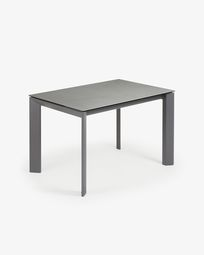 Table extensible Axis 120 (180) cm grès cérame finition Hydra Plomb pieds anthracite
