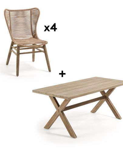 Chiara 90 x 190 cm Table Pack with 4 Beige Zabel Chairs