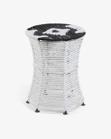 Large black and white Kali footstool