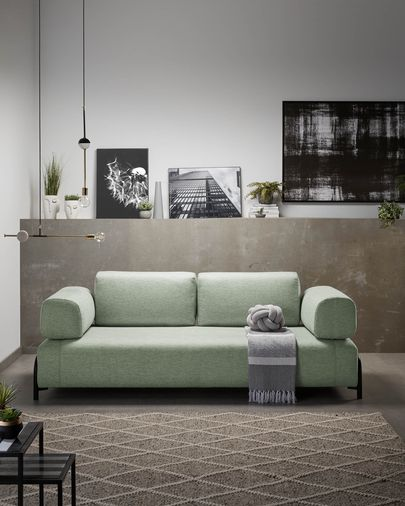 Turquoise 3 seaters Compo sofa wiht small tray