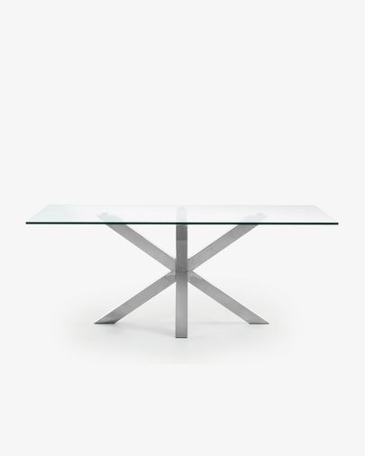 Argo table 200 cm glass stainless steel legs