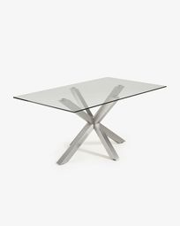 Argo table 180 cm glass matt stainless steel legs