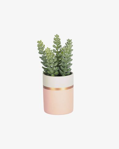 Plante artificielle sedum lucidum en pot en céramique rose