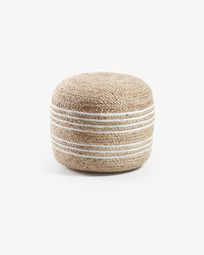 Natural and white Saht pouf Ø 45 cm