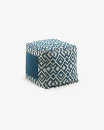 Blue and withe Malawi pouf 45 x 45 cm