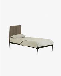Bed met boxspring Nelly 90 x 190 cm grijs