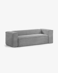 Grey velveteen 2-seater Blok sofa