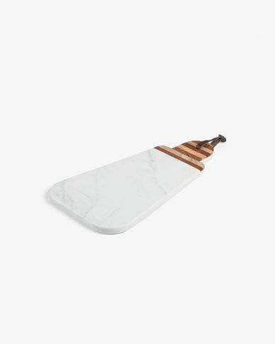 Bryant oval triangular cutting board white marble handle