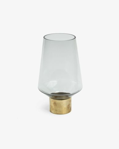 Issey vase, grey glass 26 cm with brass detail