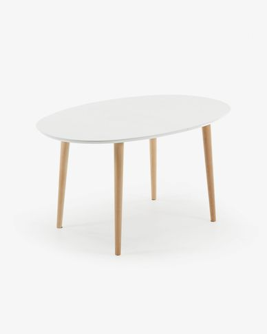 Oqui oval extendable table 140 (220) x 90 cm white
