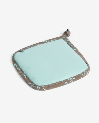 Potholder Shire turquoise and brown with flowers
