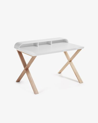 Table de bureau Working 120 x 79 cm blanc et frene